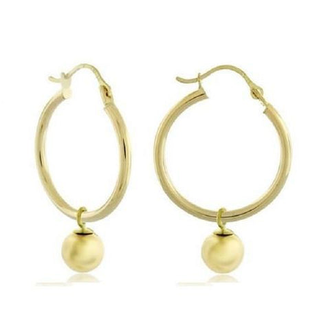 14K Solid Gold Hoop with Ball Dangle Buy One Pair for $69.01 or Buy Two Pair for Only $119.01- God Degree Clothing And Accessories™® - GD's™®