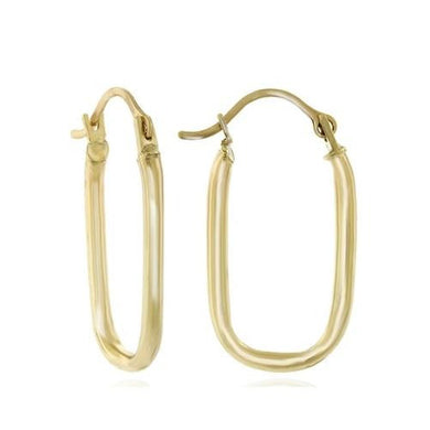 🍀 14K Solid Gold Rectangular Rounded Hoop Earrings  - Kwikibuy Amazon Global