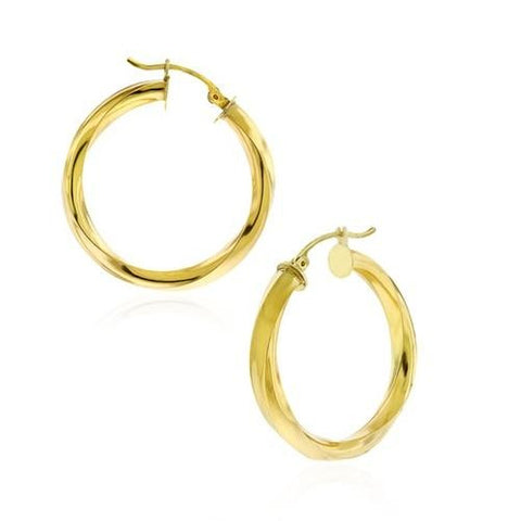 14K Solid Gold Thick Twisted Hoop Earrings - Kwikibuy.com™® Official Site