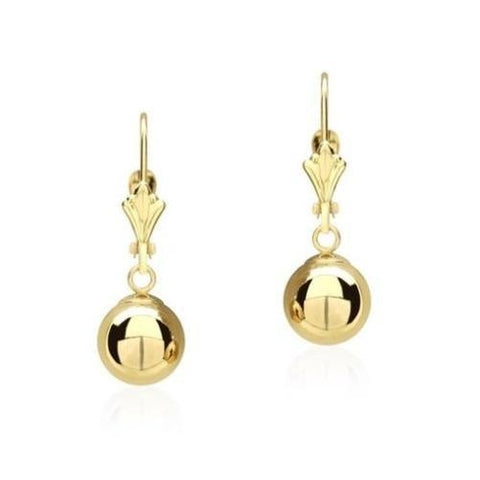 14K Solid Yellow Gold Ball Dangle Drop Earrings - Kwikibuy.com™® Official Site