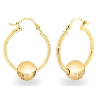 14K Solid Yellow Gold Ball Slider Hoop Earrings  - Kwikibuy Amazon Global