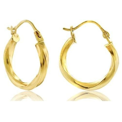 14K Yellow Gold 16 mm Twisted Hoop Earrings - Kwikibuy.com™® Official Site