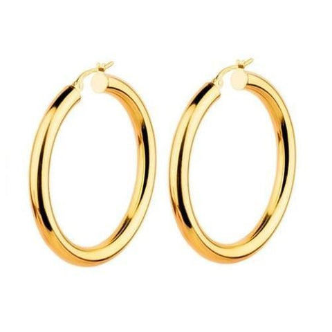 Thick 14K Gold High Polish Hoops - Kwikibuy.com™® Official Site