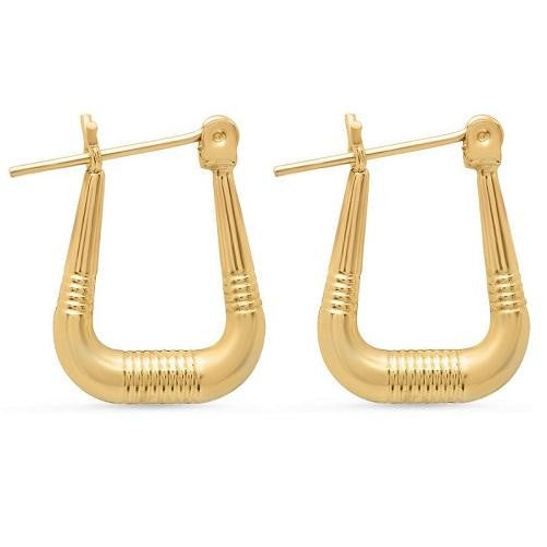 🍀 Solid Yellow Gold Square Ribbed Hoop Earrings  - Kwikibuy Amazon Global