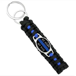 My Hero My Dad  - Thin Blue Line Cobra Weave Para-cord Key Ring  - Kwikibuy Amazon Global