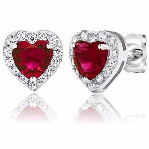 🍀 2.32 Ct Ruby Red Hearts (925 Sterling Silver Earrings)  - Kwikibuy Amazon Global