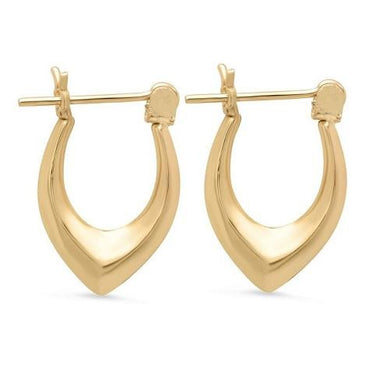 Solid Yellow Gold Marquise Hoop Earrings  - Kwikibuy Amazon Global
