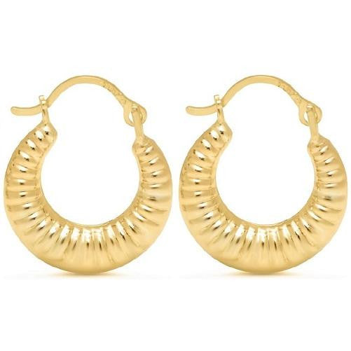 Solid Yellow Gold Round Ribbed Hoop Earrings (Pair) - Kwikibuy Amazon