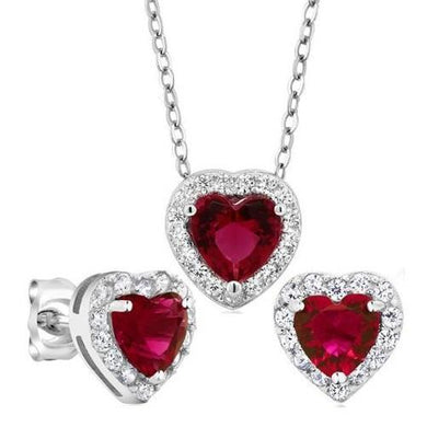 🍀 3.45 Ct Red Hearts 925 Sterling Silver (Earrings and Pendant Set)  - Kwikibuy Amazon Global