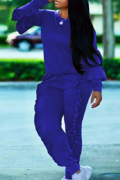 Classy Ruffled Sweat Suit (Blue) | Kwikibuy Amazon | United States | Clothing, Shoes & Jewelry | Women | Clothing | Active | Active Top & Bottom Sets