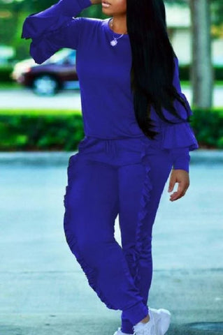 $37 CLASSY RUFFLED SWEAT SUIT BLUE (7 COLORS) - Kwikibuy.com™® Official Site