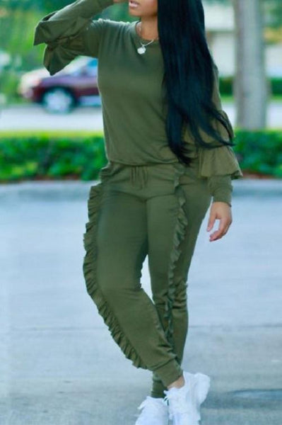 Classy Ruffled Sweat Suit (Green) | Kwikibuy Amazon | United States | Clothing, Shoes & Jewelry | Women | Clothing | Active | Active Top & Bottom Sets
