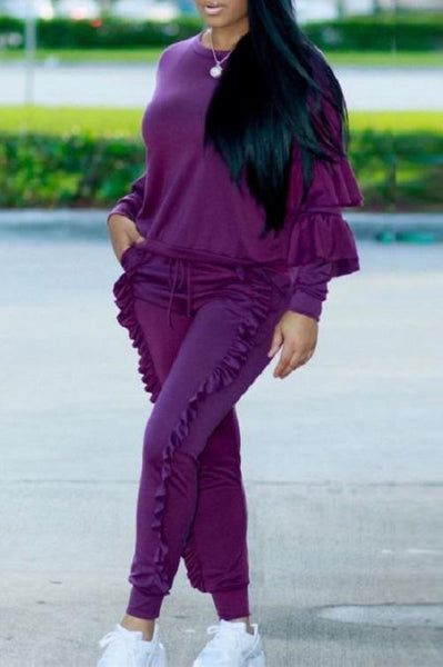 Classy Ruffled Sweat Suit (Purple) | Kwikibuy Amazon | United States | Clothing, Shoes & Jewelry | Women | Clothing | Active | Active Top & Bottom Sets