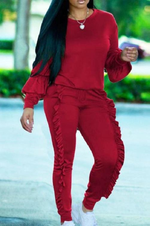 Classy Ruffled Sweat Suit (Red) | Kwikibuy Amazon | United States | Clothing, Shoes & Jewelry | Women | Clothing | Active | Active Top & Bottom Sets