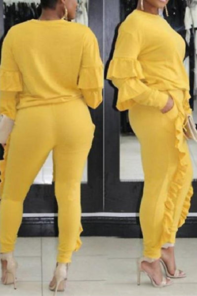Classy Ruffled Sweat Suit (Yellow) | Kwikibuy Amazon | United States | Clothing, Shoes & Jewelry | Women | Clothing | Active | Active Top & Bottom Sets