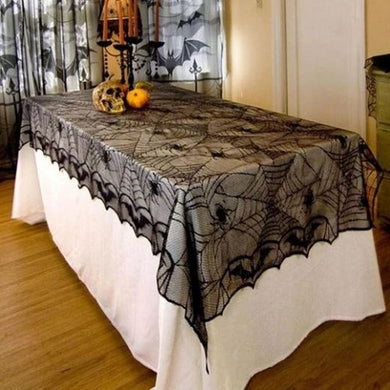 🎃 Decorative Black Lace Spider Web Rectangle Table-cover  - Kwikibuy Amazon Global Online S Hopping Mall Material: lace and polyester Tablecloth For Halloween