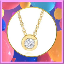 Load image into Gallery viewer, 14k-Solid-Gold-White-Diamond-Solitaire-Bezel-Pendant  - Kwikibuy Amazon Global