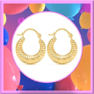 Solid Yellow Gold Round Ribbed Hoop Earrings - Kwikibuy Amazon Global