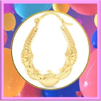 🍀 Solid Yellow Gold Bib Hoop Earrings  - Kwikibuy Amazon Global