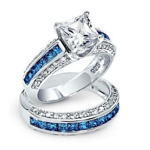 Princess-Cut-White-Sapphires-Blue-Topaz-Gemstone  - Kwikibuy Amazon Global
