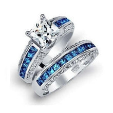 Load image into Gallery viewer, Princess-Cut-White-Sapphires-Blue-Topaz-Gemstone  - Kwikibuy Amazon Global