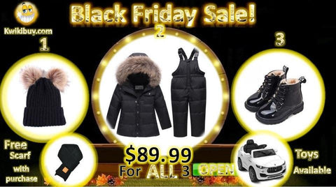 $89.99 For ALL 3 Pompoms Hat Snowsuit Boots Free gift with purchase | Kwikibuy Amazon Global | United States | Children | Kids | All | Winter | Scarf | Scarves | Snowsuit | Hat | Outerwear