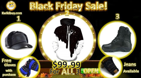 $99.99 For ALL 3 Leather Cap Pullover Hoodie and Commando Boots Free gift with purchase | Kwikibuy Amazon Global | United States | All | Men | Hoodie | Leather | Hat | Cap | Boots | Shoes | Gloves