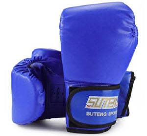 Boxing Gloves (4 Colors)  - Kwikibuy Amazon Global 4 Colors: Blue, Red, Black White Fire 1 Pair Man-made Leather Boxing Gloves Kickboxing Training Fighting