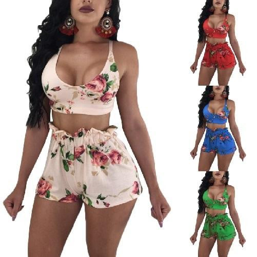 2 Piece Backless Low Cut Crop Top and Shorts\' Set (Red Floral)  - Kwikibuy Amazon Global