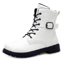 "Load image into Gallery viewer, Buckle Boots (2 Colors - 5 Sizes)  - Kwikibuy Amazon Global 2 Colors White or Black 5 Sizes: 7.5"", 8"", 8.5"", 9""-9.5"" or 10"" Boot Type: Fashion Boots"