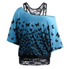 Load image into Gallery viewer, Butterfly-Print-Blue-T-Shirt  - Kwikibuy Amazon Global