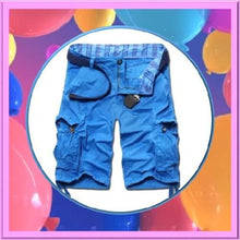 Load image into Gallery viewer, Casual-Loose-Fit-Cargo-Shorts-Azure-Blue  - Kwikibuy Amazon Global