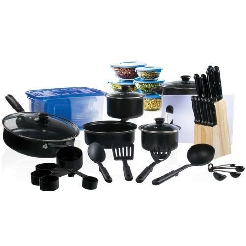 Complete Cookware and Cutlery Starter Kitchen 102 Piece Set (Black) - Kwikibuy.com™® Official Site
