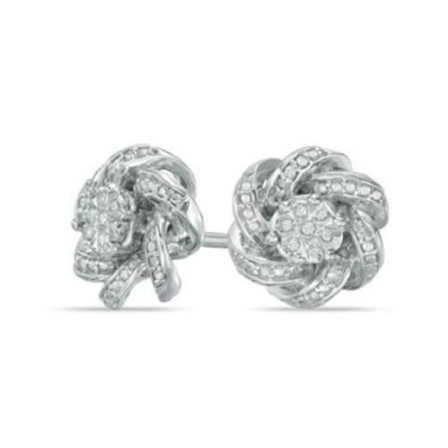 🍀 Diamond Accent Knot Frame Stud Earrings  - Kwikibuy Amazon Global