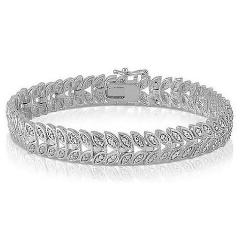 Shop-Now-Diamond-Accent-Leaf-Tennis-Bracelet-Women-female-Kwikibuy.com