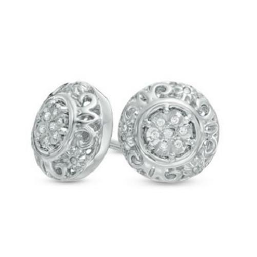 🍀 Diamond Accent Scroll Frame Stud Earrings  - Kwikibuy Amazon Global