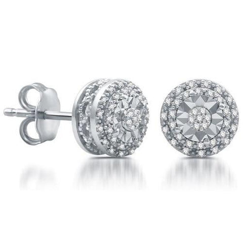 144 White Diamonds Cluster Round Stud Earrings - Kwikibuy.com Official Site©