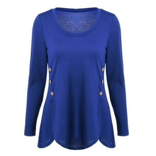 Shop-Now-Double-Breasted-Asymmetrical-Button-Blouses-Blue-Kwikibuy.com-Women-Clothes-Tops