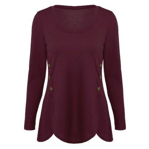 Shop-Now-Double-Breasted-Asymmetrical-Button-Blouses-Deep-Red-Kwikibuy.com-Women-Clothes-Tops