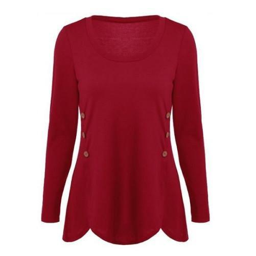 Shop-Now-Double-Breasted-Asymmetrical-Button-Blouses-Red-Kwikibuy.com-Women-Clothes-Tops