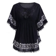 Load image into Gallery viewer, Lace Batwing Sleeve Blouse (Black)  - Kwikibuy Amazon Global