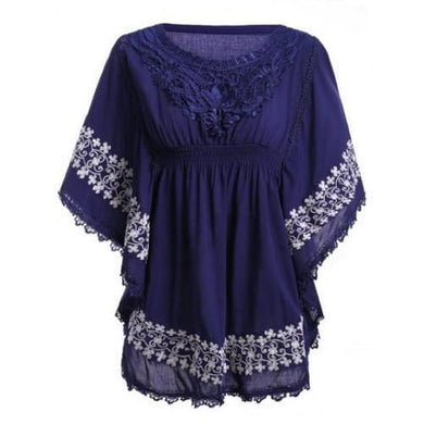 Lace Batwing Sleeve Blouse (Purplish Blue)  - Kwikibuy Amazon Global