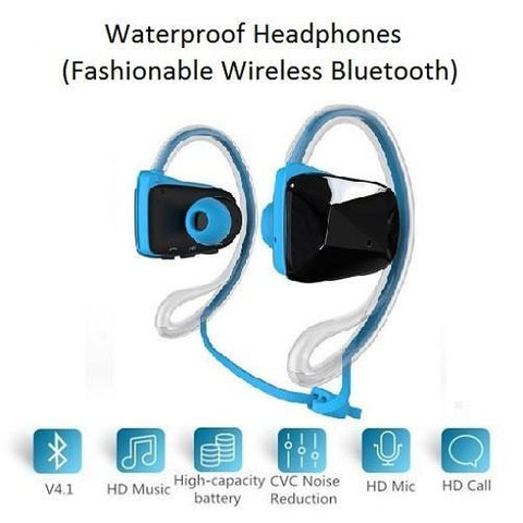 Waterproof Blue Headphones (Wireless Bluetooth) $34 - Kwikibuy.com™® Official Site