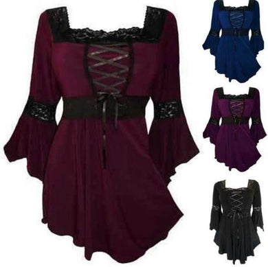 Victorian Gothic Steampunk Lace Up Blouse (4 Colors - 8 Sizes)  - Kwikibuy Amazon Global