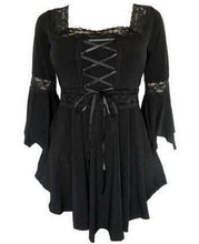 Load image into Gallery viewer, Victorian-Gothic-Steampunk-Lace-Up-Burgundy-Blouse  - Kwikibuy Amazon Global