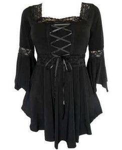 Victorian-Gothic-Steampunk-Lace-Up-Burgundy-Blouse  - Kwikibuy Amazon Global