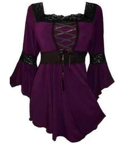 Victorian-Gothic-Steampunk-Lace-Up-Purple-Blouse  - Kwikibuy Amazon Global