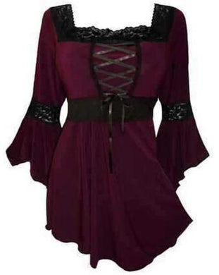 Victorian Gothic Steampunk Lace Up Blouse (Burgundy)  - Kwikibuy Amazon Global