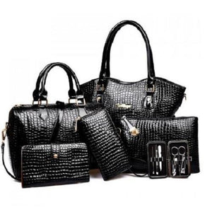 Stylish Crocodile Tote Bag Set (Black)  - Kwikibuy Amazon Global