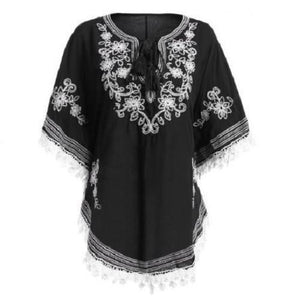 Bohemian Batwing Sleeves Embroidery Blouse  - Kwikibuy Amazon Global